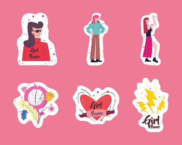 Diseño de colección de pegatinas de girl power de empoderamiento de la mujer, feminismo femenino y ilustración de tema de derechos