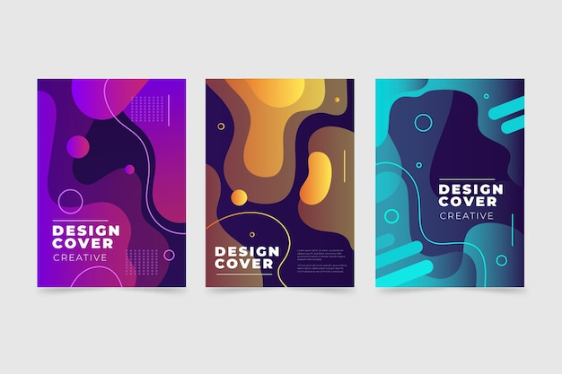 Diseño de colección de portadas de degradado abstracto