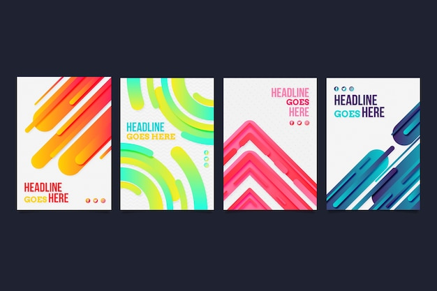 Diseño de colección de portadas de formas abstractas