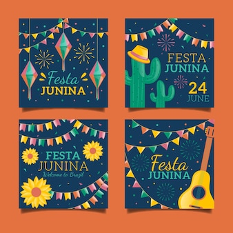 Diseño de la colección de tarjetas del festival de junio