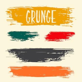 Diseño de colección de trazos de pintura de pincel sucio grunge