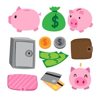 Diseño de colección de vector de dinero