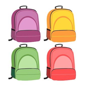 Diseño de colección de vector de mochila