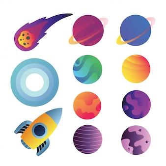 Diseño de colección de vectores de iconos de espacio