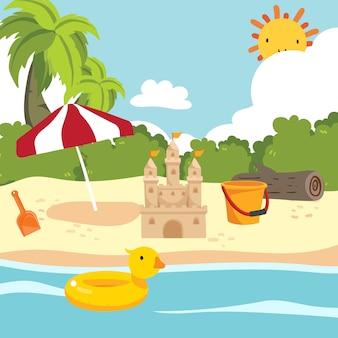 Diseño de colección de vectores de juguete de playa