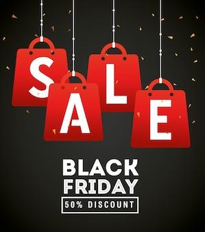 Diseño colgante de bolsas de venta de viernes negro, oferta de venta, ahorro y compras