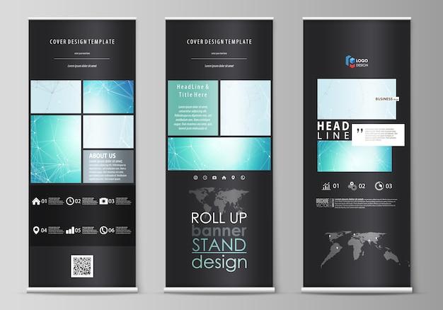 El diseño de color negro de los soportes de pancartas enrollables