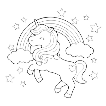 Diseño para colorear con lindo unicornio