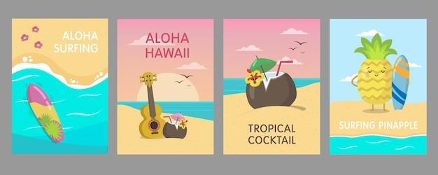 Diseño colorido de carteles hawaianos con playa de mar. vivos elementos tropicales brillantes y personajes de frutas. concepto de verano y vacaciones de hawaii. plantilla para folleto promocional o volante