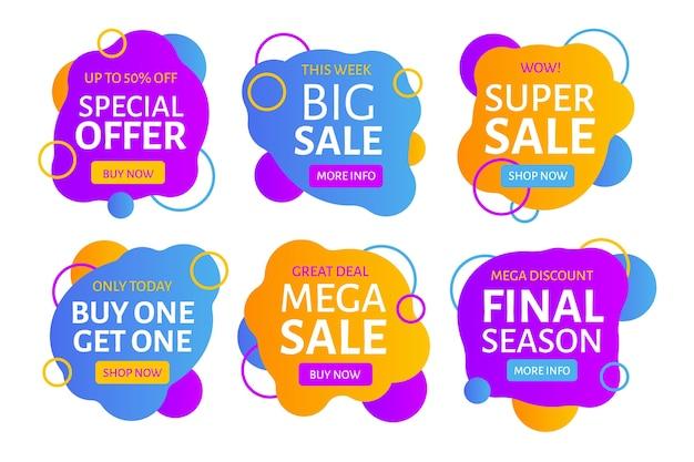 Diseño colorido de la colección de banners de ventas