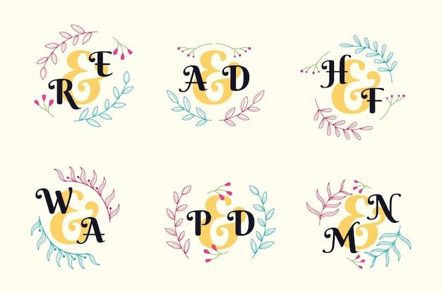 Diseño colorido de la colección del monograma de la boda