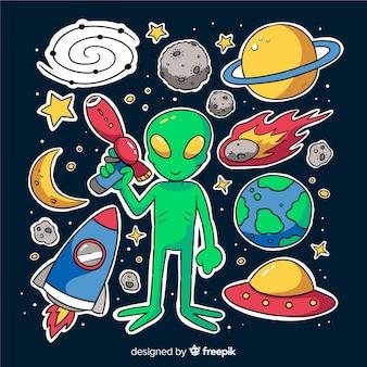 Diseño colorido de la colección de pegatinas espaciales