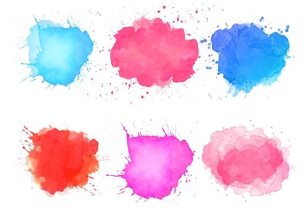Diseño colorido conjunto de manchas de salpicaduras de acuarela abstracta