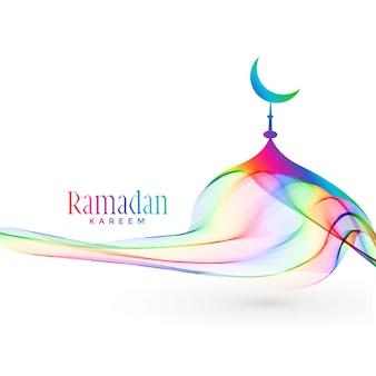 Diseño colorido creativo de la mezquita para la temporada de ramadan kareem