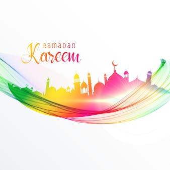 Diseño colorido de mezquita con onda para la temporada de ramadán kareem