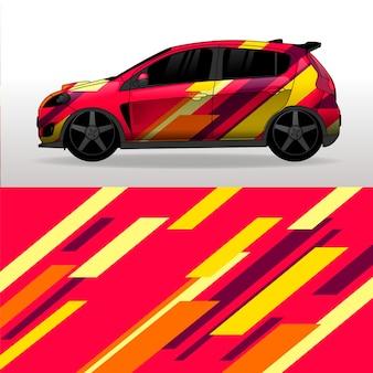 Diseño colorido de envoltura de automóvil