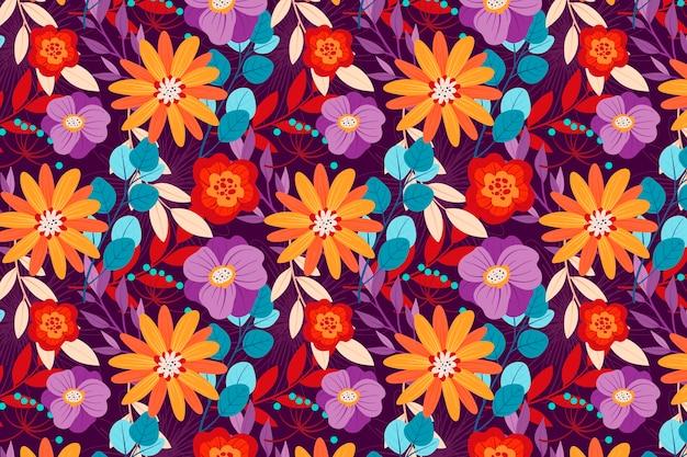 Diseño colorido estampado de flores