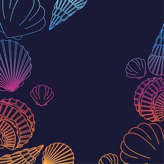 Diseño colorido del fondo de la cáscara del mar
