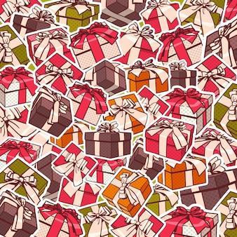 Diseño colorido del fondo del día de fiesta de las cajas de regalo y de las cintas de los arcos rojos