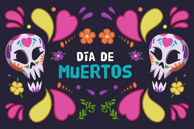 Diseño colorido del fondo del día de los muertos