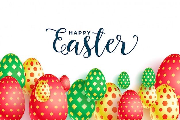 Diseño colorido del fondo del festival de los huevos de pascua con dibujos
