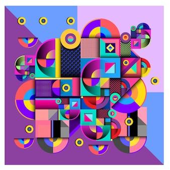 Diseño colorido geométrico de los elementos de memphis de moda