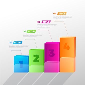 Diseño colorido de infografía barras 3d