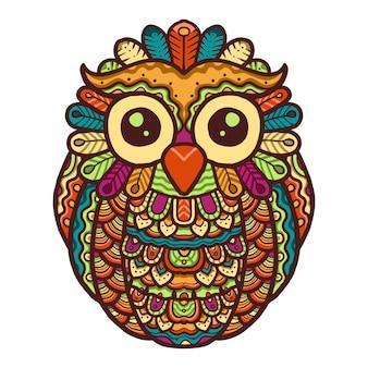 Diseño colorido lindo buho mandala vector