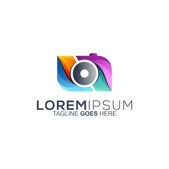 Diseño colorido del logo de la cámara