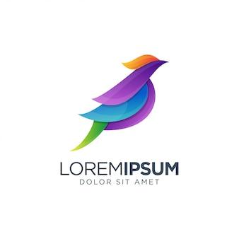 Diseño colorido del logotipo del pájaro