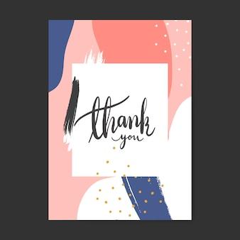 El diseño colorido de memphis le agradece vector de la tarjeta