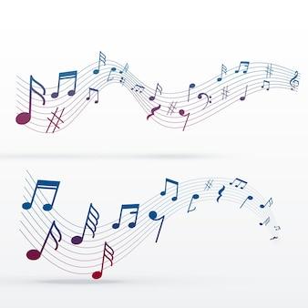 Diseño colorido de notas de música