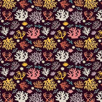 Diseño colorido patrón coral