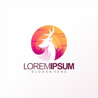 Diseño colorido de la plantilla del logotipo de los ciervos