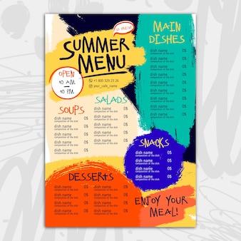 Diseño colorido de plantilla de menú de restaurante