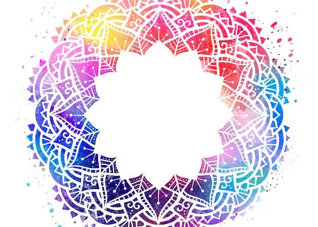 Diseño colorido rangoli acuarela sobre superficie blanca