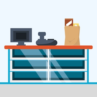 Diseño colorido de supermercado caja registradora