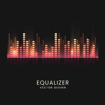 Diseño colorido del vector del equalizador de la onda acústica