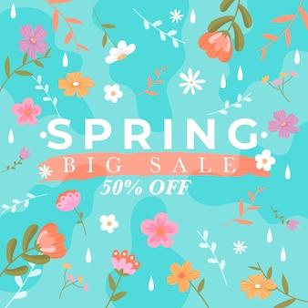Diseño colorido de venta de primavera