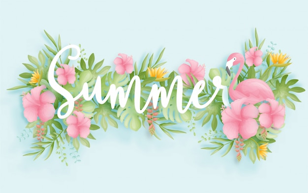 Diseño colorido y vibrante del fondo de la venta del verano tropical con el pájaro, las hojas de palma y las flores.