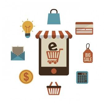 Diseño de comercio electrónico sobre fondo blanco ilustración vectorial