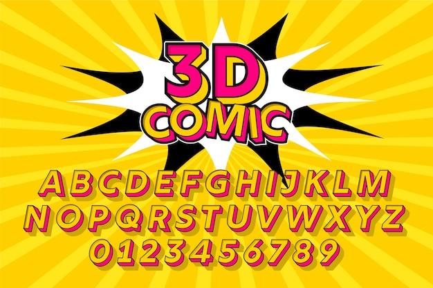 Diseño cómico 3d para colección de alfabeto