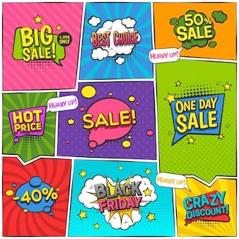 Diseño cómico de la página de la venta con el ejemplo aislado plano del vector de los símbolos del descuento