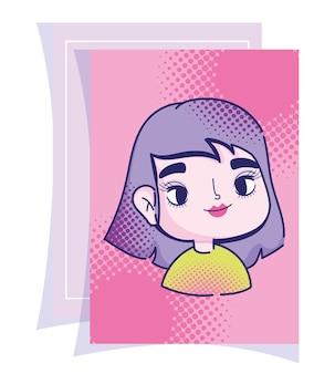 Diseño cómico de semitono de pelo púrpura de niña de dibujos animados de arte pop