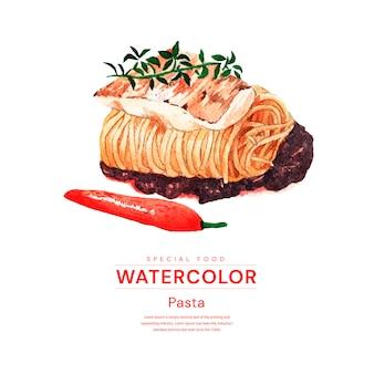 Diseño de comida de pasta acuarela