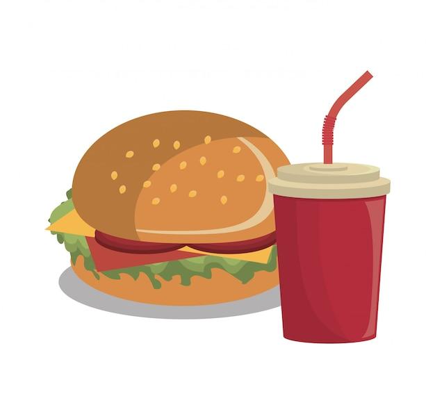 Diseño de comida rápida de hamburguesa aislado