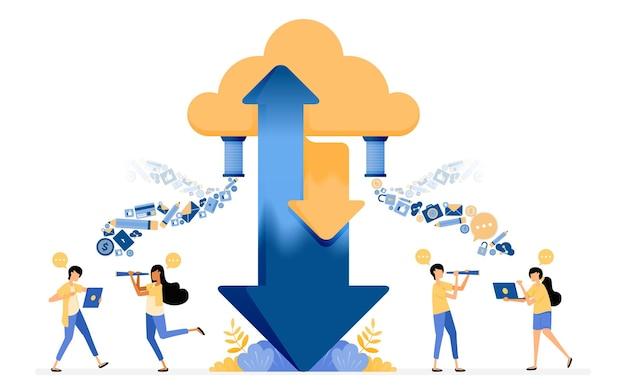 Diseño de compartir datos de carga y descarga a servicios de almacenamiento de alojamiento en la nube.