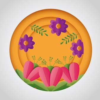 Diseño de composición redonda de flores de primavera