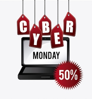 Diseño de compras cyber lunes.
