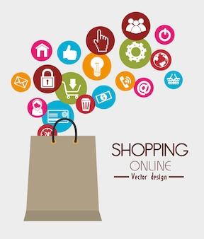Diseño de compras, ilustración vectorial.